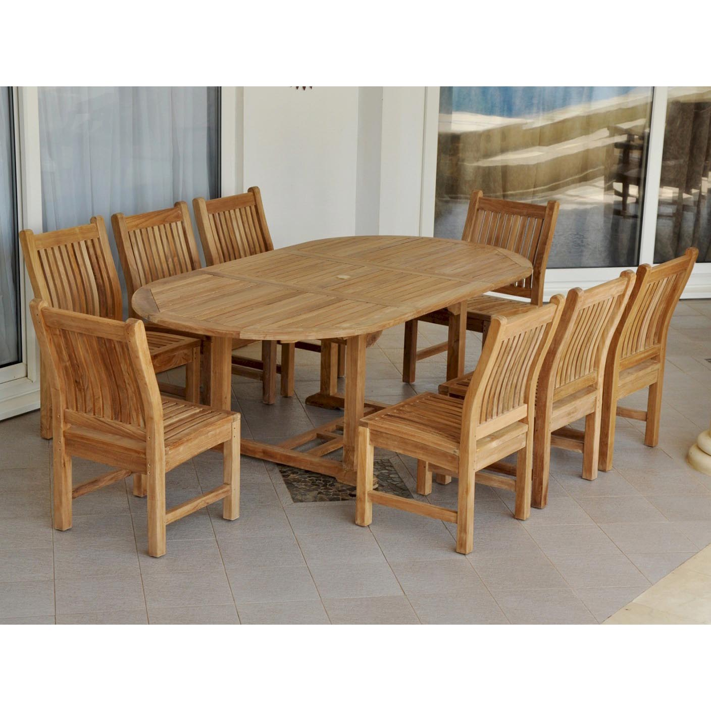 Purchase Teak Bahama Oval Table Sahara Dining Chairs Product Photo