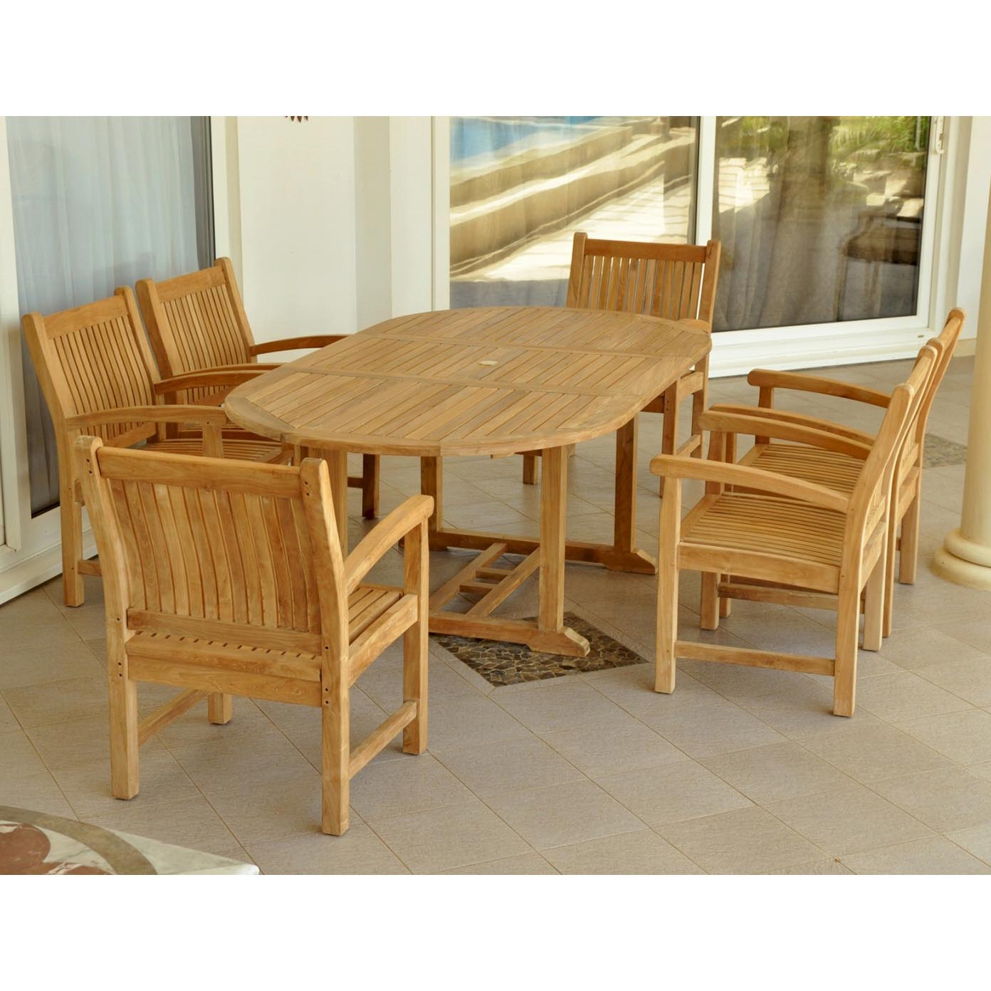 Purchase Teak Bahama Oval Table Sahara Dining Arm Chairs Product Photo