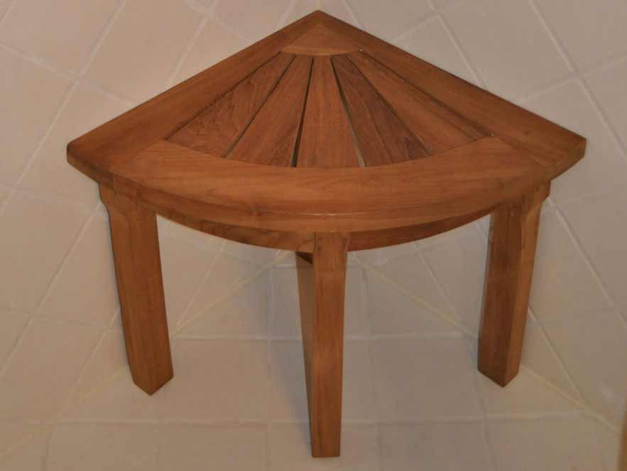 Superb Teak Shower Corner Stool Product Photo