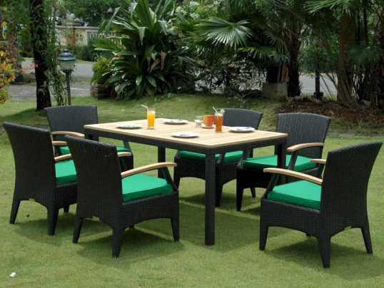 Beau Slim Logo; Rattan Outdoor Patio Bellagio Dining Set