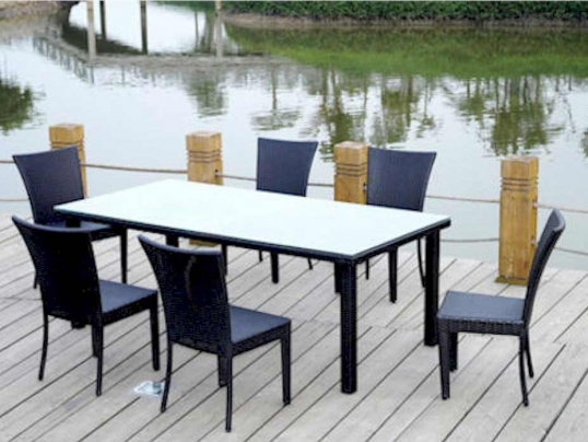 Slim Logo; Rattan Outdoor Patio Sheraton Dining Table Set