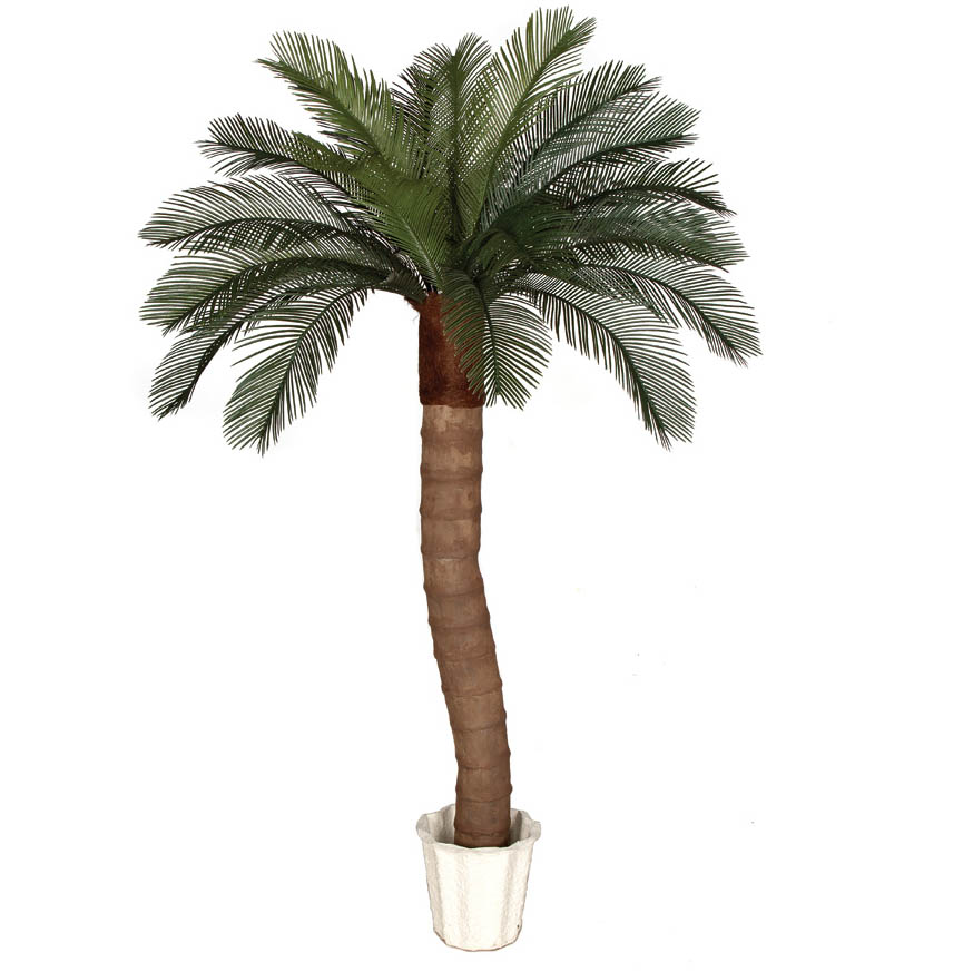 6 foot Artificial Outdoor Cycas Palm Tree: Ribbed Synthetic Trunk & 24 Fronds A-154320