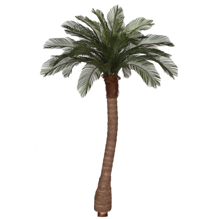 8 foot Artificial Outdoor Cycas Palm Tree: Ribbed Synthetic Trunk & 24 Fronds A-154360