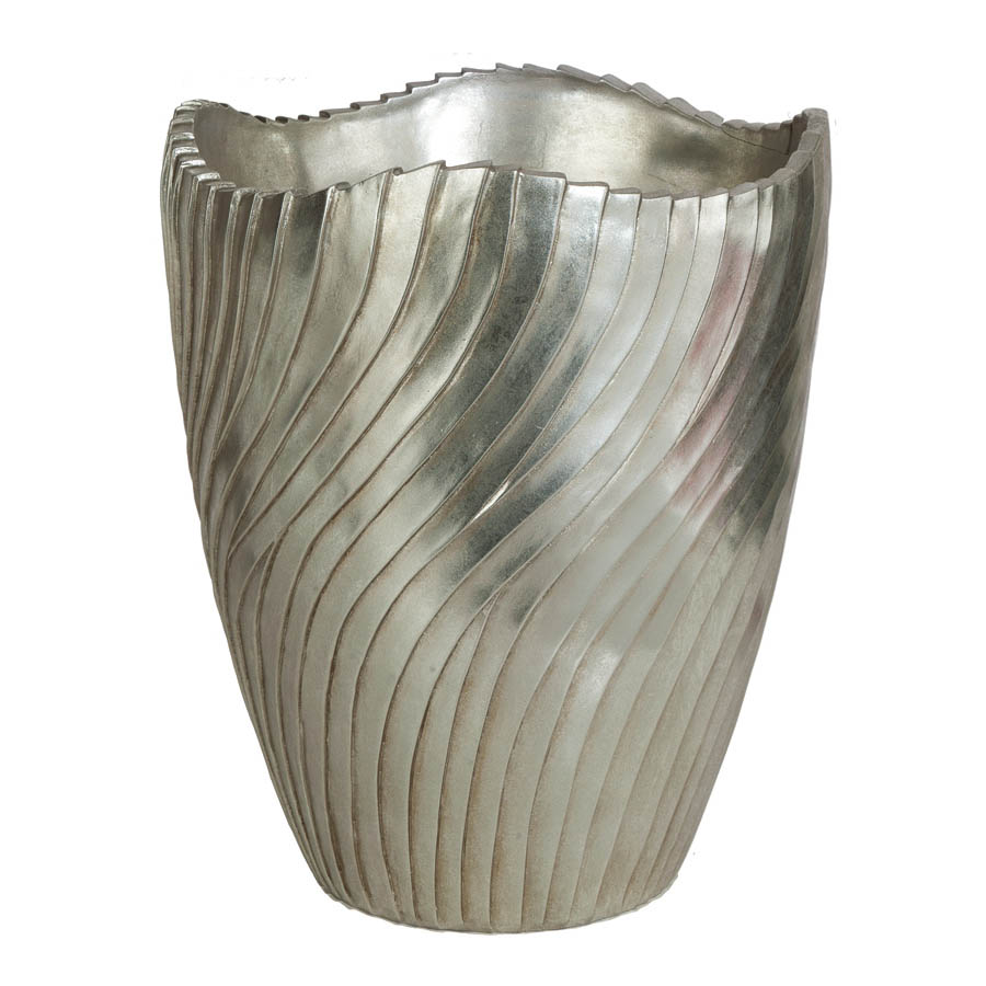 Reliable H Brushed Silver Fiberglass Planter Inside Dia  Product Photo