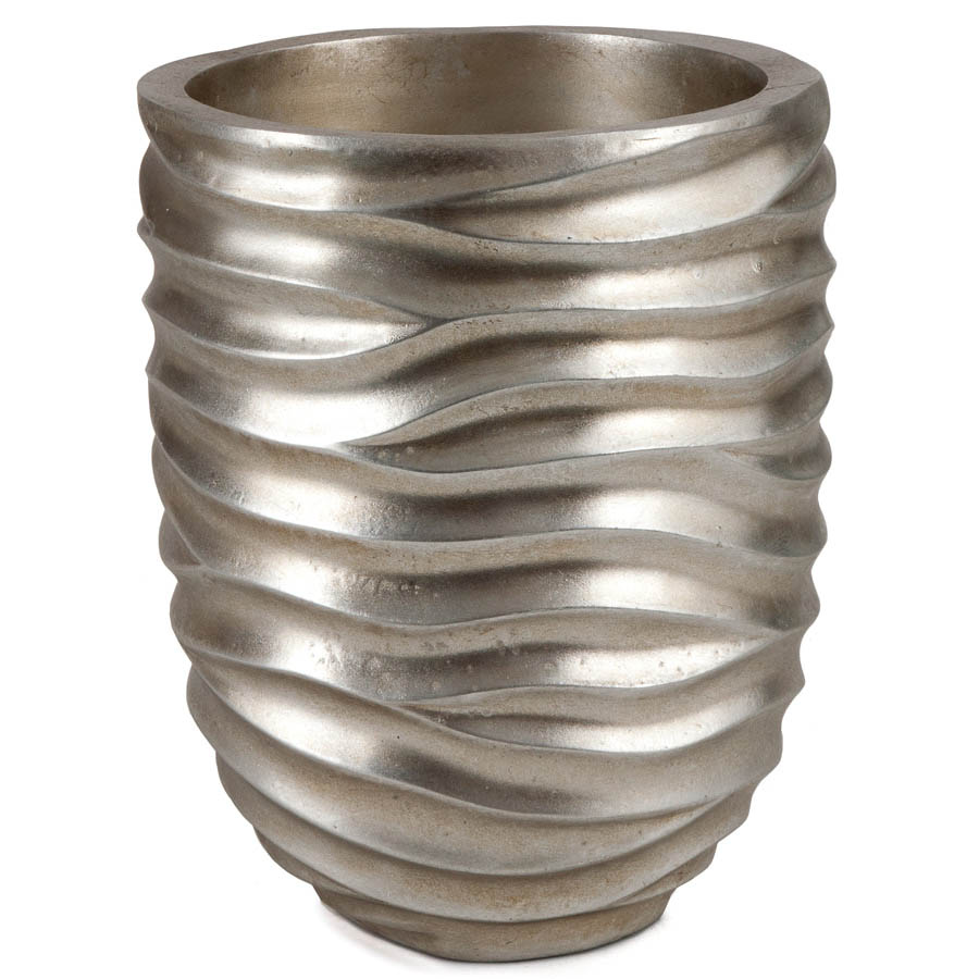 Silver Planter: 10 Inch Tall Brushed Silver Planter: 6.5 Inch Opening