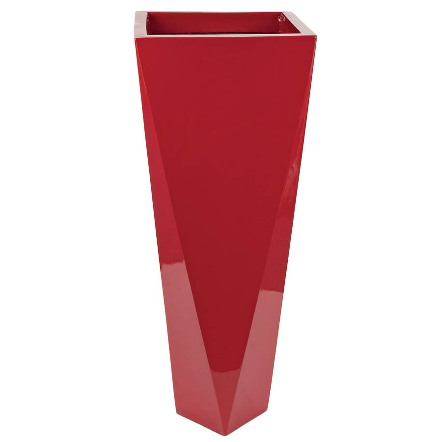 36 Inch Gloss Red Fiberglass Tapered Square Planter 12 Inch Inside
