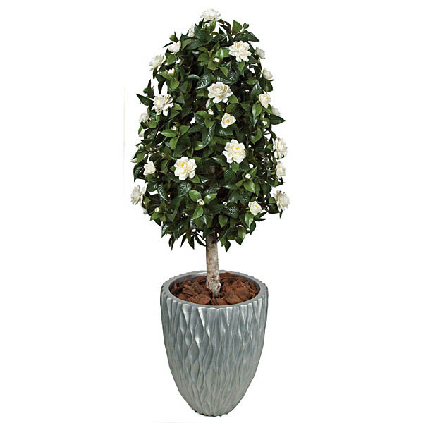 Select Outdoor Artificial Gardenia Topiary Potted 9 324