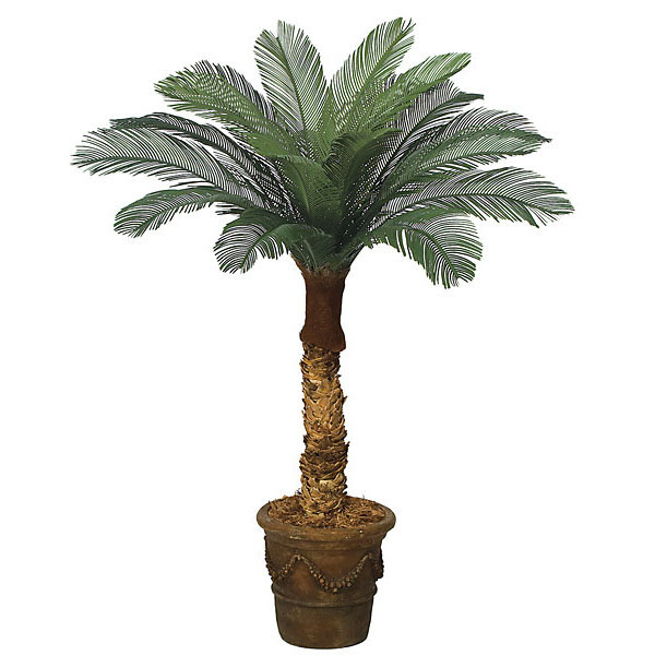 4 foot Artificial Outdoor Cycas Palm: 18 Fronds & Natural Trunk A-0148