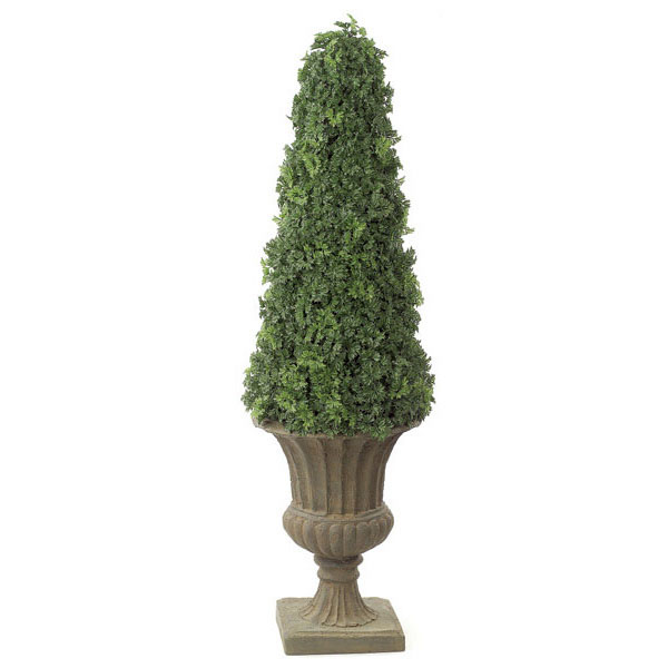 Learn more about Artificial Outdoor Ming Aralia Cone Topiary Potted 1 425