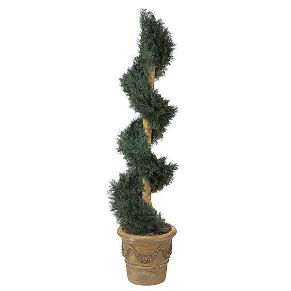 6 Foot Artificial Outdoor Juniper Spiral Topiary With