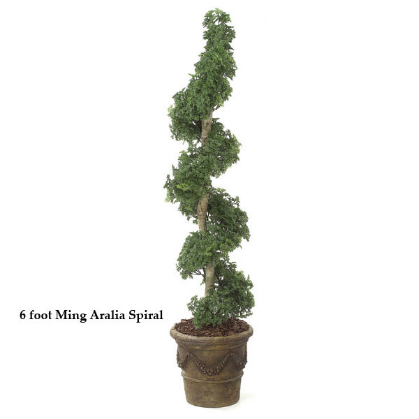 Stylish Outdoor Artificial Ming Aralia Spiral Topiary Product Photo