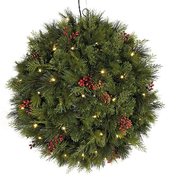 Tasteful Hanging Mixed Pine Ball Clear Mm Leds Product Photo