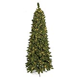 7.5 Foot Slim Flocked Carlston Fir Tree: Clear All-Lit Lights