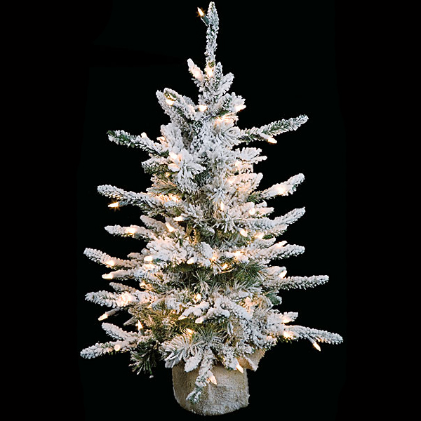 32 Inch Flocked Long Needle Christmas Tree Clear Lights C 70631 - Miniature Christmas Trees With Lights