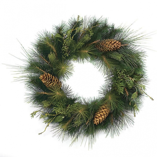30 Inch Pe Pvc Mixed Sugar Pine Wreath With Large Cones C 84043