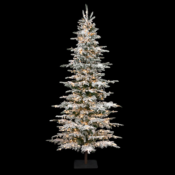 9 Foot Slim Flocked Laser Glitter Pine Tree C 84351