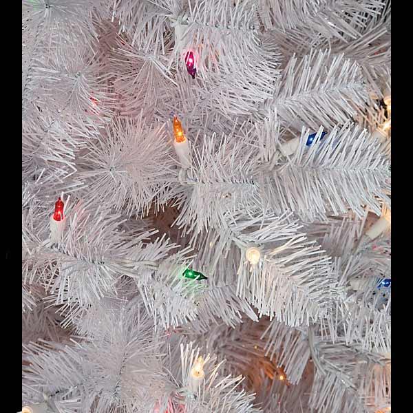 7 5 Foot White Pencil Pine Tree Multi Colored Mini Lights