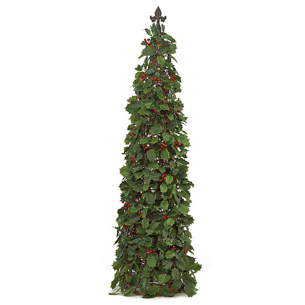 50 Inch Holly Cone Topiary With Red Berries T 60035
