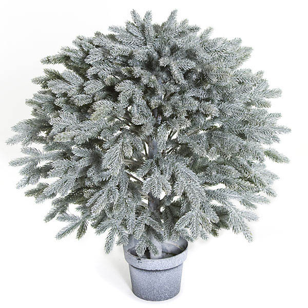 27 Inch Plastic Frosted Balsam Fir Topiary Ball: Potted