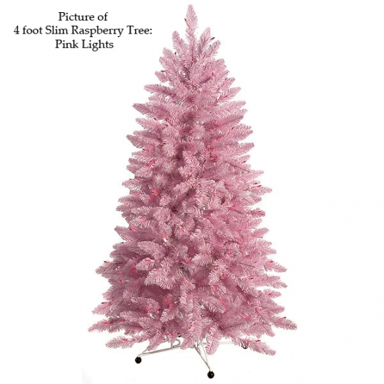 slim logo 4 foot slim raspberry christmas tree pink lights