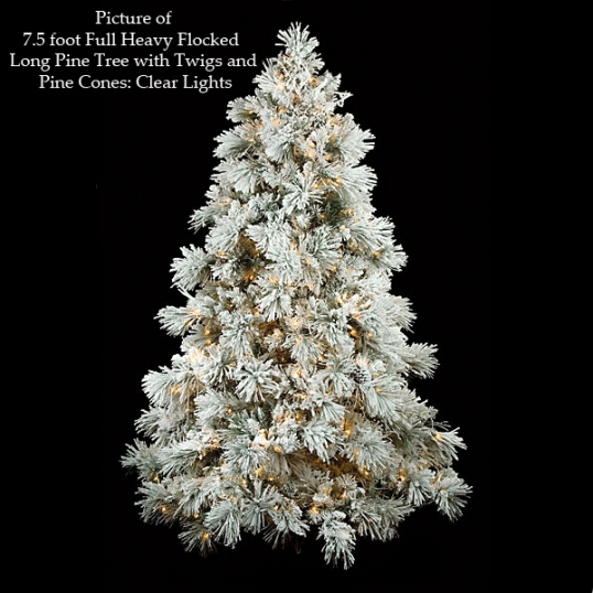 slim logo full heavy flocked long needle pine with cones - Fully Decorated Tabletop Christmas Tree