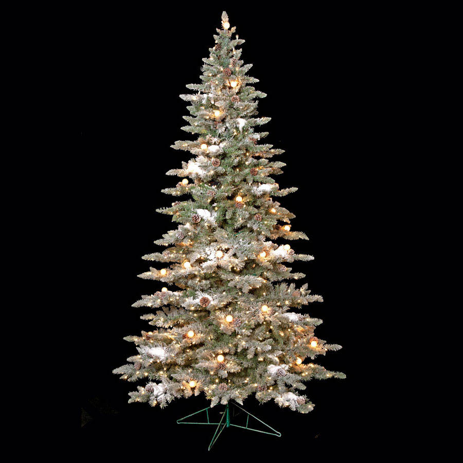 Choose Flocked Vale Pine Tree Pine Cones Clear Leds 8 2303