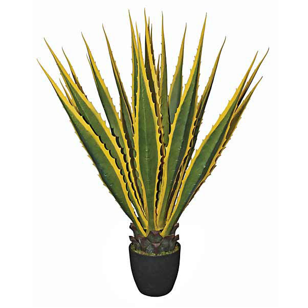 40 Inch Artificial Variegated Agave Plant Potted