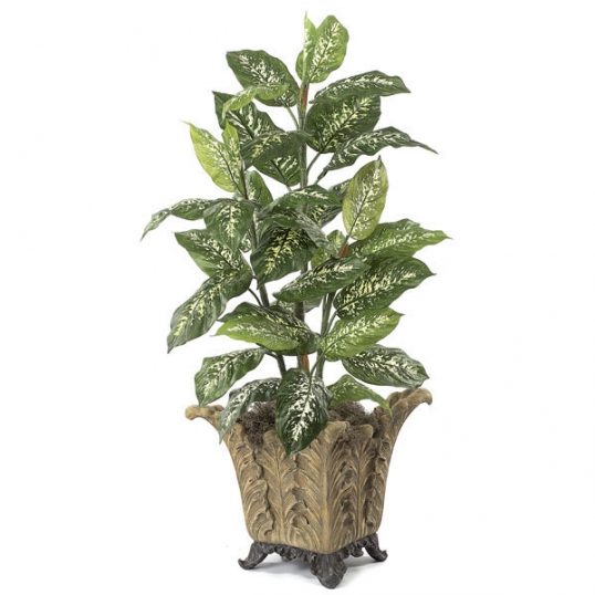 4 foot artificial dieffenbachia plant: potted (set of 2) | p-3452