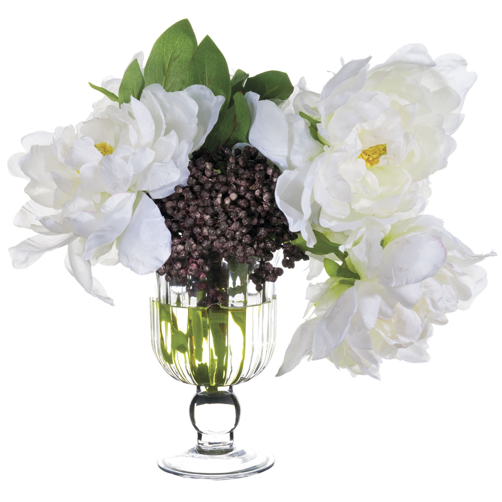 11 inch white peony sedum arrangement in glass vase for Allstate floral and craft