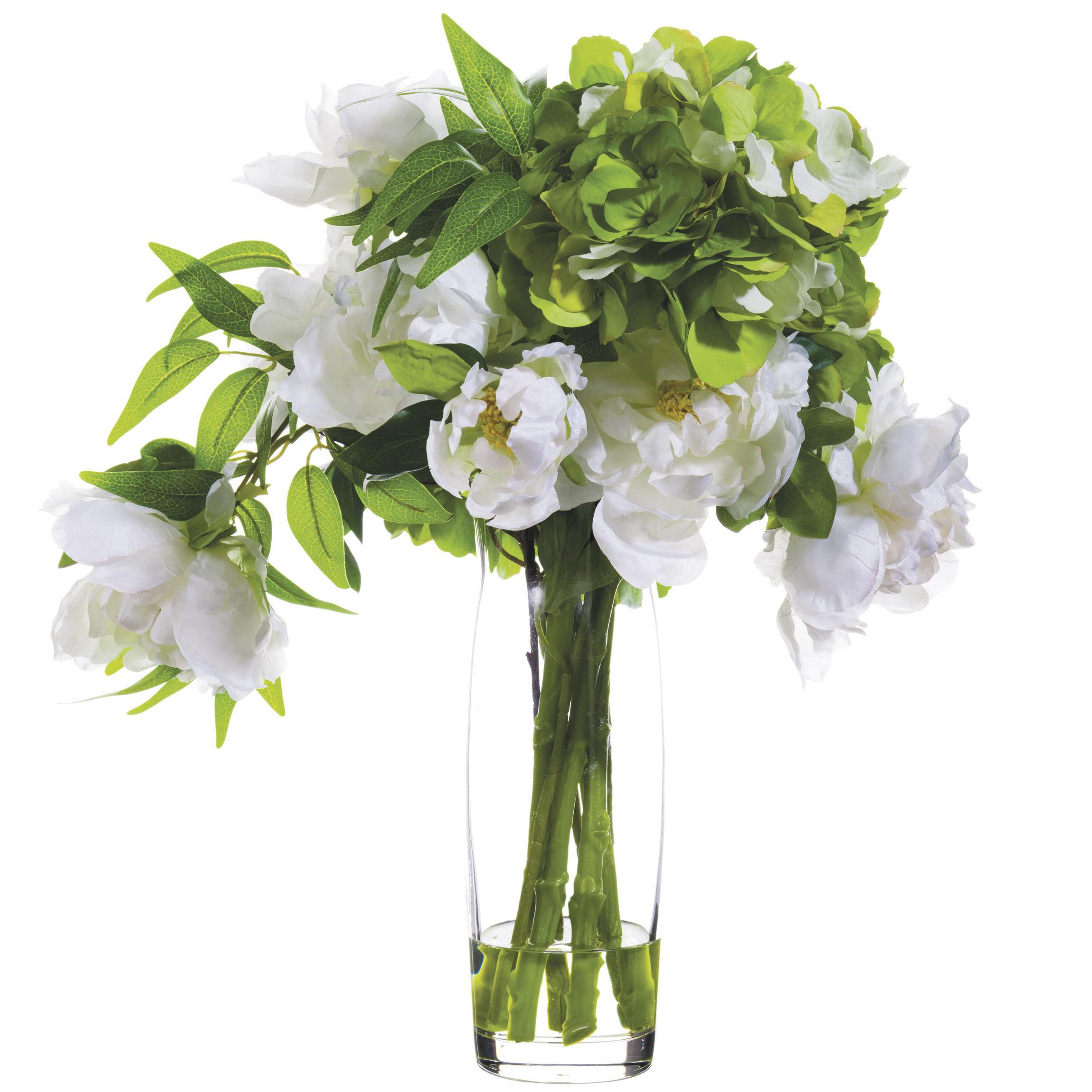 19 Inch Artificial White Hydrangea In Glass Vase