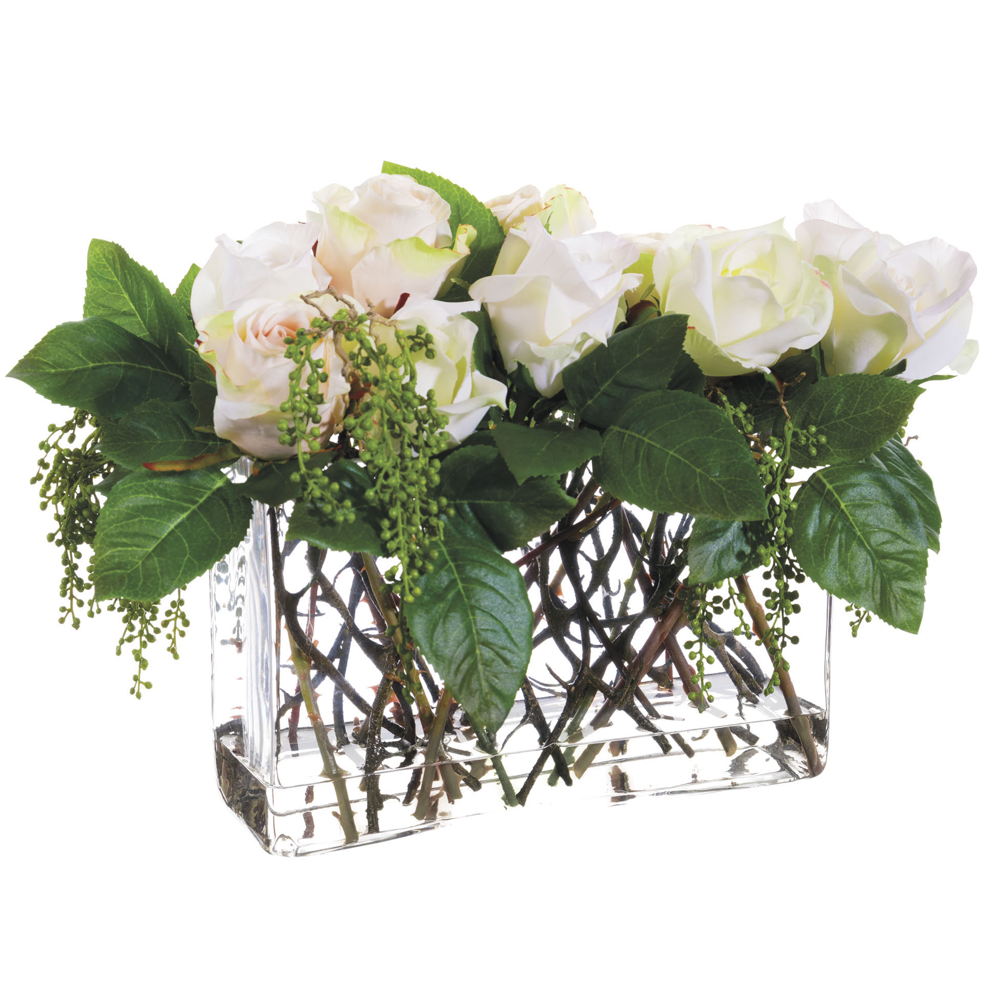 12 Inch Artificial White Rose And Berry Arrangement In Glass Vase