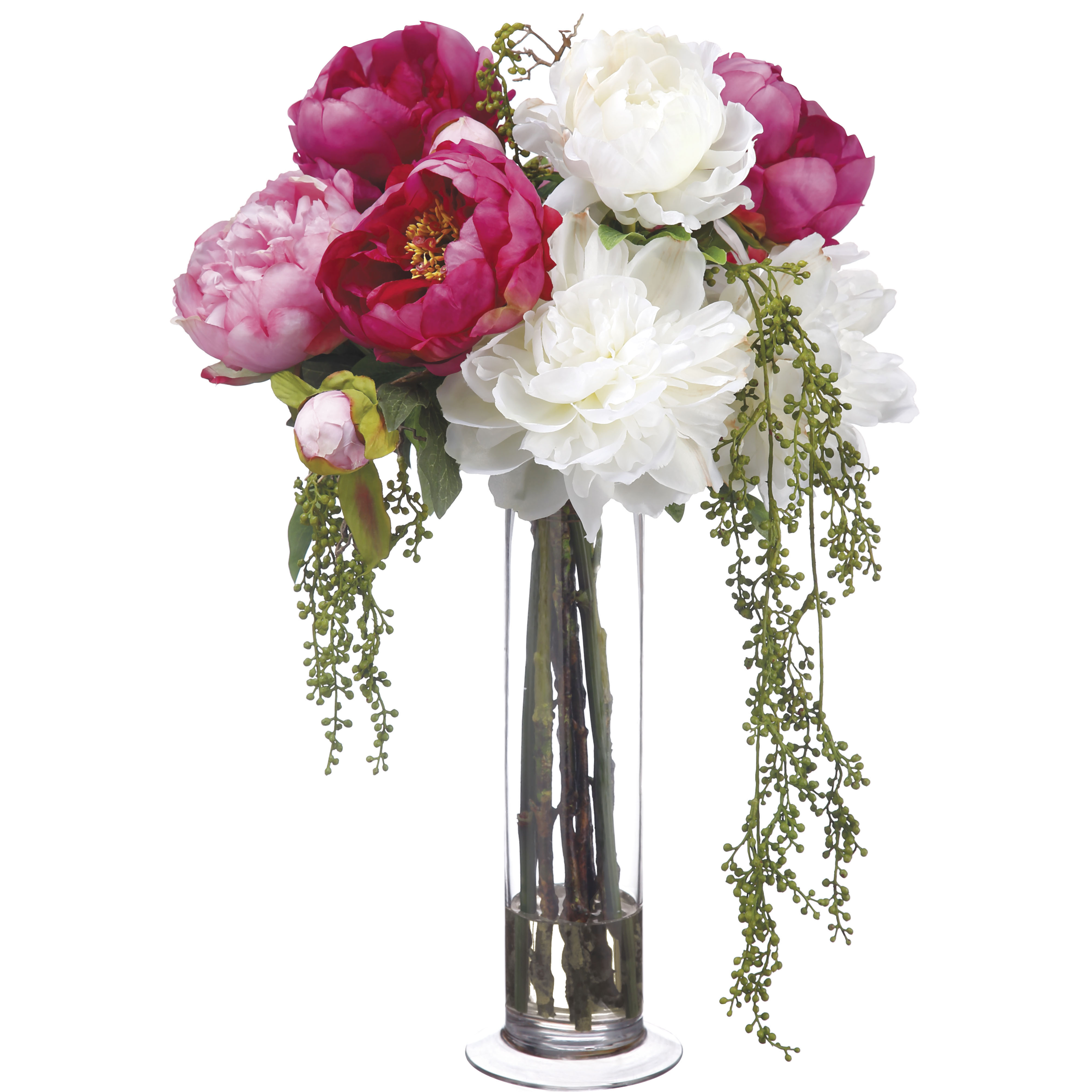 21 Inch Artificial Peony And Berry Arrangement In Cylinder Glass Vase