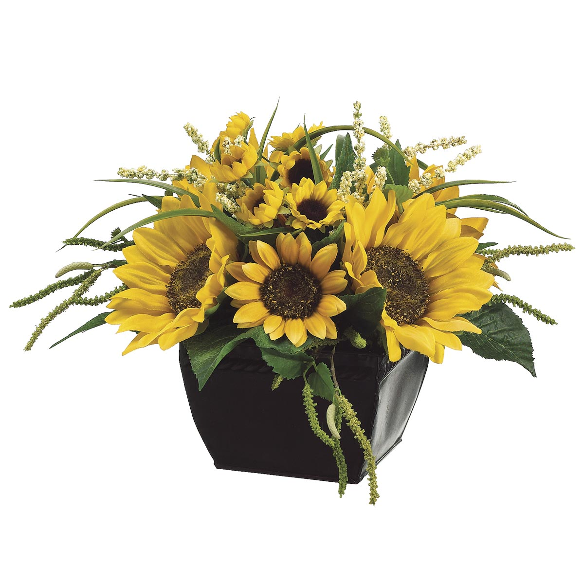 Inch sunflower and amaranthus arrangement in metal
