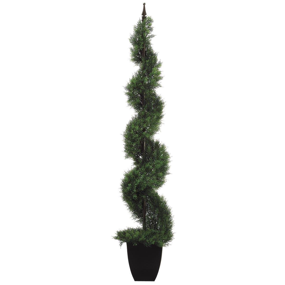 4 Foot Cedar Spiral Topiary With Finial In Black Plastic Pot