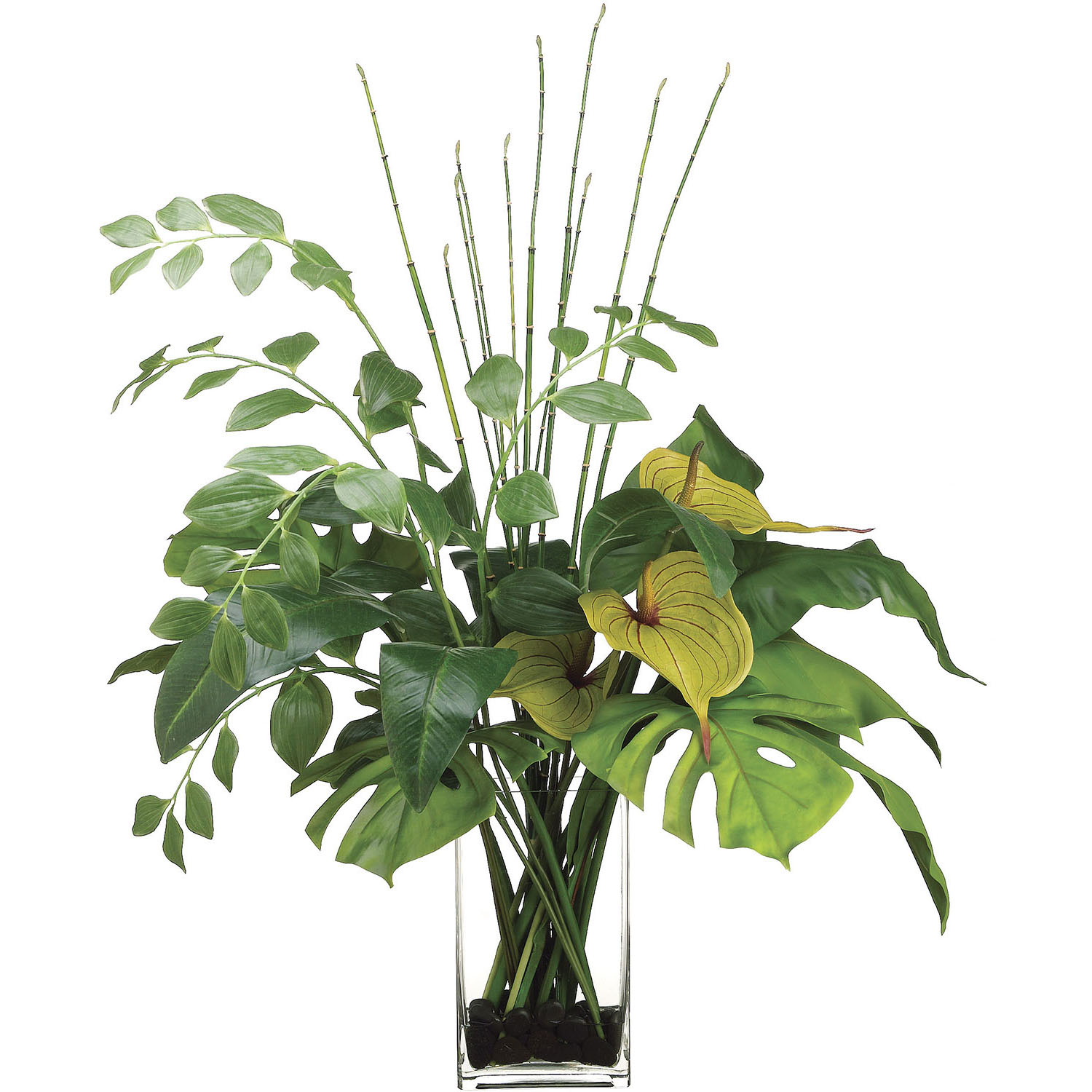 38 Inch Anthurium, Bird Of Paradise Leaf, Solomons Seal In Glass Vase