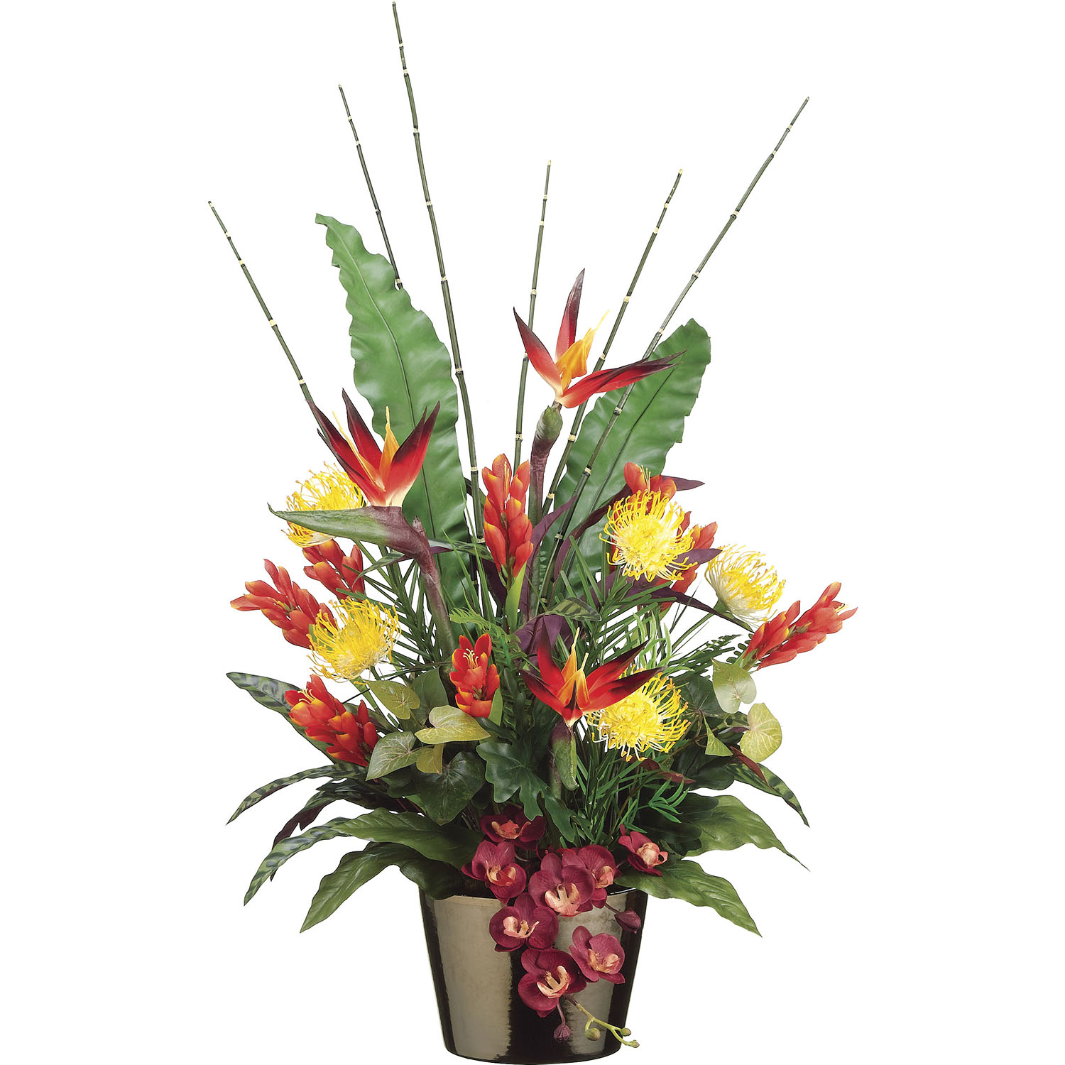 40 Inch Bird Of Paradise, Protea, & Ginger Flowers In Ceramic Pot