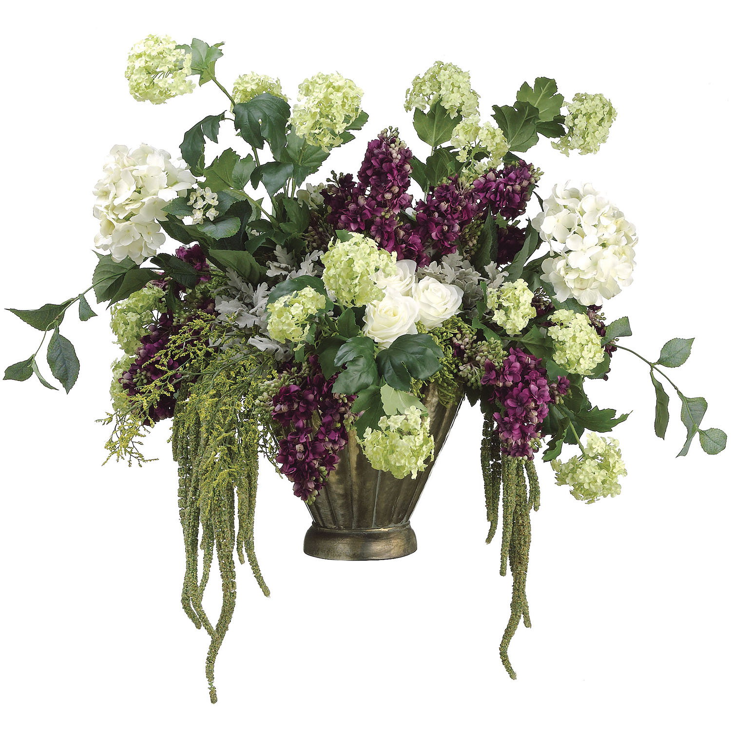 Splendid Hydrangea Lilac Snowball Rose Arrangement Metal Pot Product Photo