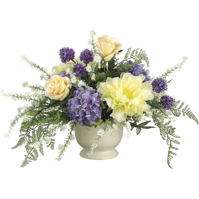 Inch hydrangea peony and rose arrangement in ceramic