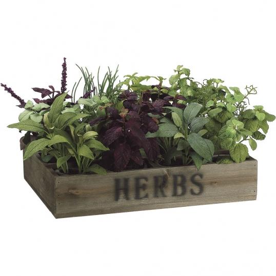 9 inch artificial herb garden in wood box | lqh465-gr/bu