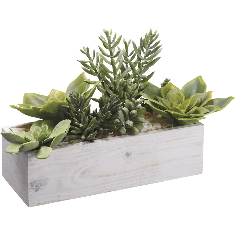 10 Inch Artificial Succulents Garden In Wood Container