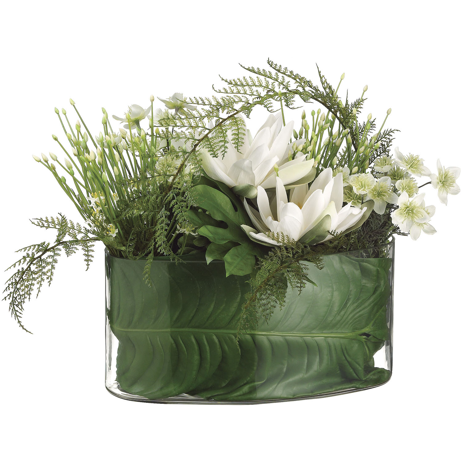 18 Inch Water Lily Allium Lace Fern In Glass Container Wf1379