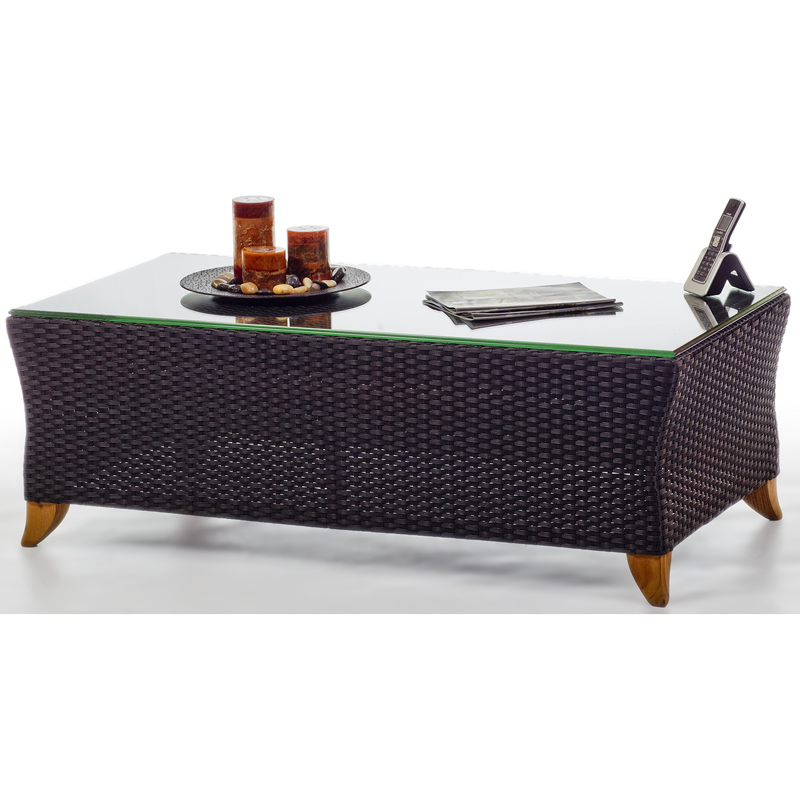 Design Rattan Coffee Table Glass Top Product Photo