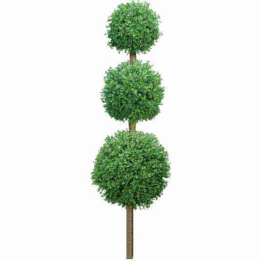 8 Foot Outdoor Artificial Triple Boxwood Ball Topiary W/ Natural Trunk
