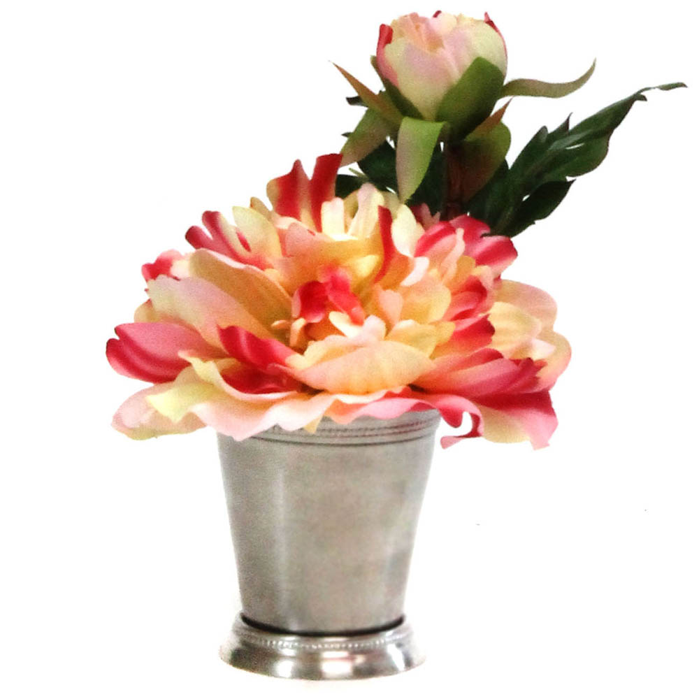 6 inch Artificial Peonies in Silver Metal Cup co118