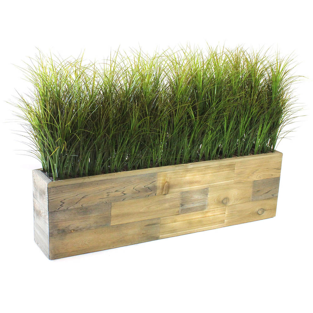 Superb H Artificial Grasses Distressed Wood Look Planter Product Photo