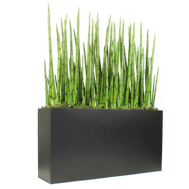 Unique H L Artificial Snake Grasses Metal Planter Product Photo