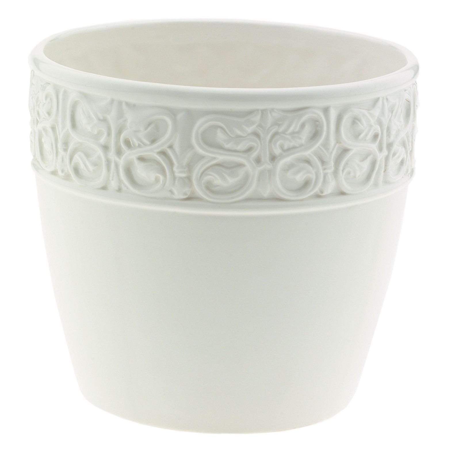 8 Inch White Ceramic Decorative Planter Fits 8 Inch Pots