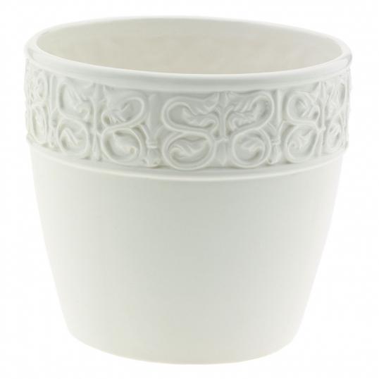 Slim Logo 8 Inch White Ceramic Decorative Planter Fits Pots