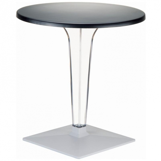 Slim Logo Ice Werzalit 32 Inch Round Dining Table With Transpa Base