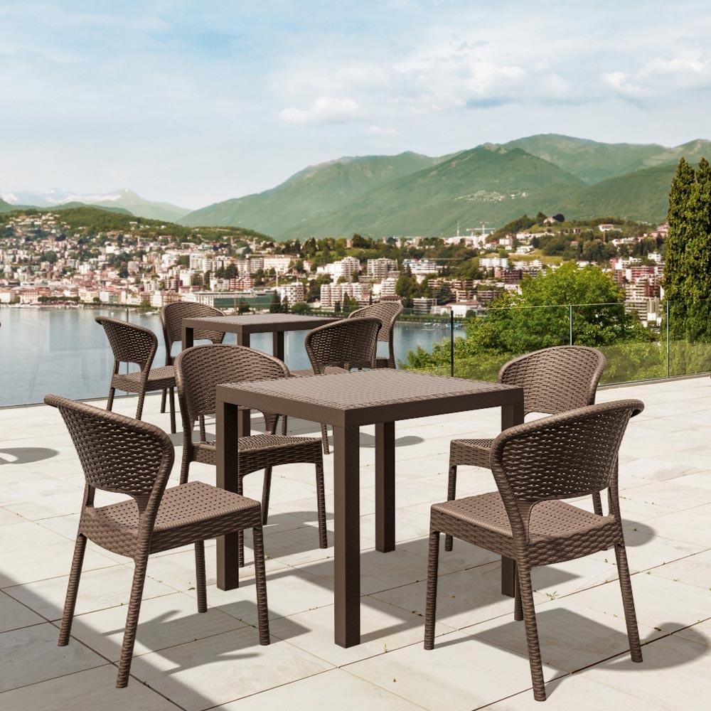Valuable Daytona Wickerlook Square Dining Set Side Chairs 7 633